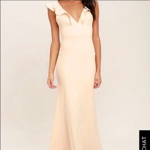 Lulus Perfect Opportunity Ruffle Mermaid Gown Med